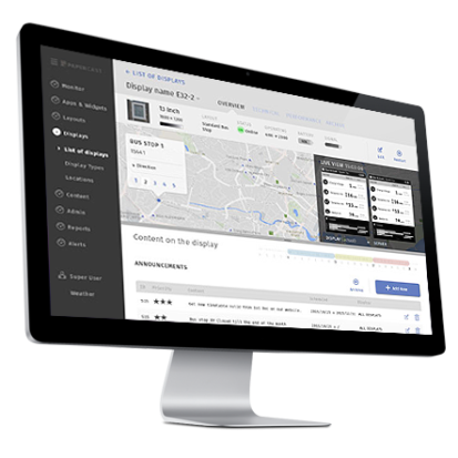 Papercast E-paper Passenger Information Display Management Platform